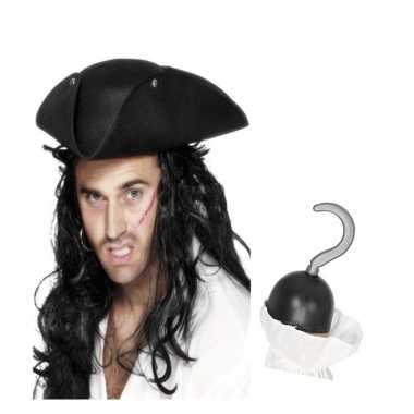 Piraten verkleed accessoires driehoekige hoed haak carnavalskleding d