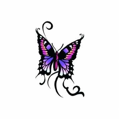 Plak tattoos glitter vlinder zwart/paars carnavalskleding den bosch
