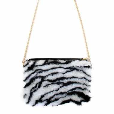Pluche schoudertasje zebra print dames carnavalskleding den bosch