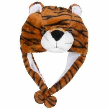 Carnavalskleding pluche tijger kindermuts flapjes