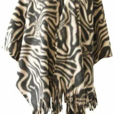 Carnavalskleding poncho zebra print