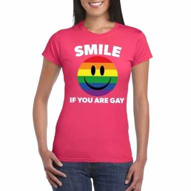 Regenboog emoticon smile if you are gay shirt roze dames carnavalskle