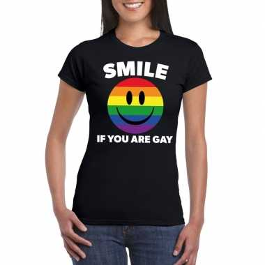 Regenboog emoticon smile if you are gay shirt zwart dames carnavalskl