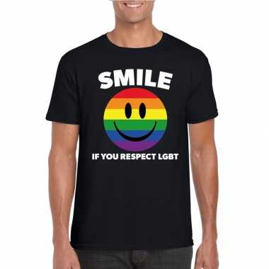Regenboog emoticon smile if you respect lgbt shirt zwart heren carnav