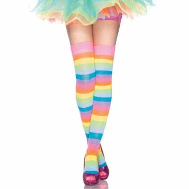 Regenboog kleuren dames lange kousen one size carnavalskleding den bosch