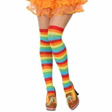 Regenboog verkleed kousen dames carnavalskleding den bosch