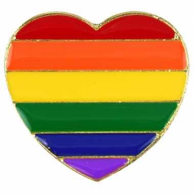 Regenboogvlag kleuren metalen hartje broche carnavalskleding den bosc