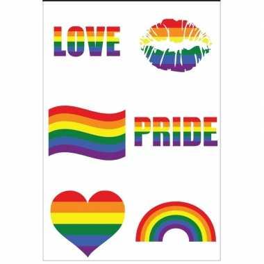 Regenboogvlag kleuren plaktattoos stuks carnavalskleding den bosch