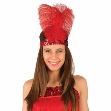 Rode jaren verkleed hoofdband veren dames carnavalskleding den bosch