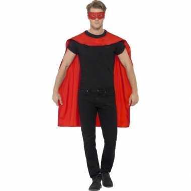 Rode superhelden cape masker carnavalskleding bosch