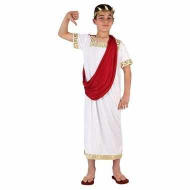 Romeinse julius ceasar verkleedset wit/rood jongens carnavalskleding
