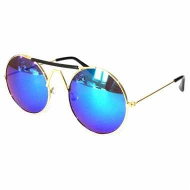 Ronde festival bril blauwe glazen carnavalskleding Den Bosch