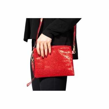 Rood feest schoudertasje glitters carnavalskleding den bosch