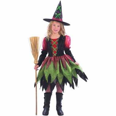 Rood groene heksenjurk meisjes carnavalskleding Den Bosch