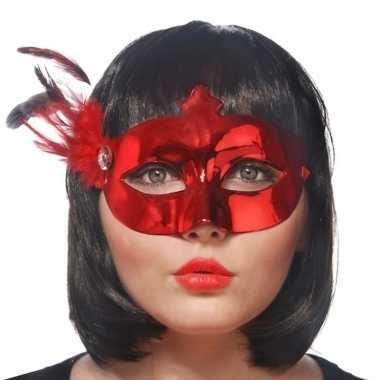 Rood mysterieus oogmasker dames carnavalskleding den bosch