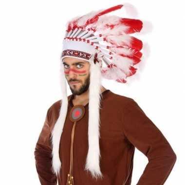 Rood/witte indianen tooi heren carnavalskleding den bosch