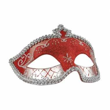 Rood/zilver mysterieus oogmasker dames carnavalskleding den bosch