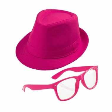 Roze accessoires hoedje zonnebril carnavalskleding den bosch