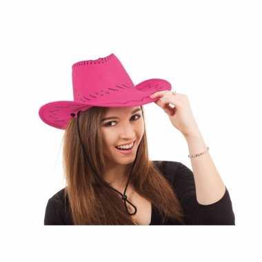 Roze cowboy hoeden carnavalskleding bosch