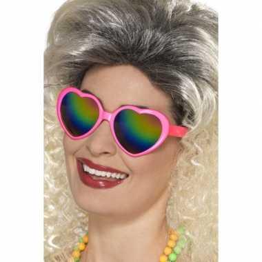 Carnavalskleding roze hartjes feestbril