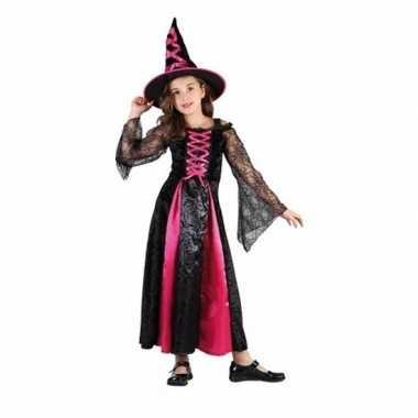 Carnavalskleding roze heksen jurkje meisjes den bosch