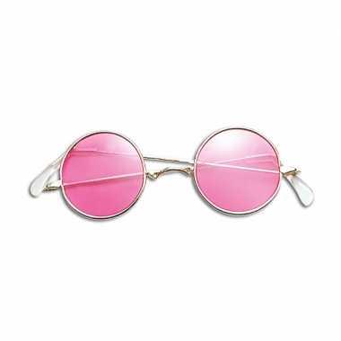 Roze hippie flower power bril carnavalskleding den bosch
