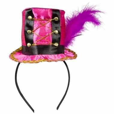 Roze hoedje haarband dames carnavalskleding den bosch
