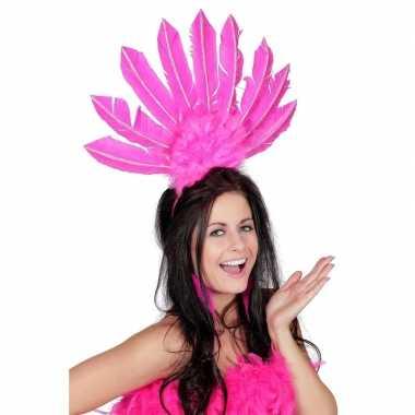 Roze hoofdtooi veren dames carnavalskleding den bosch
