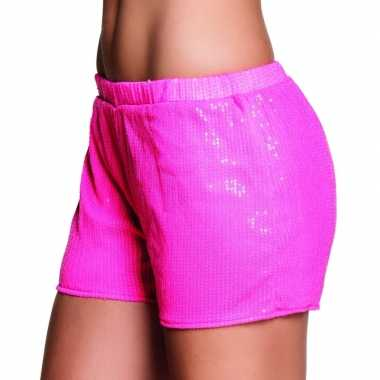 Carnavalskleding roze hotpants maat m