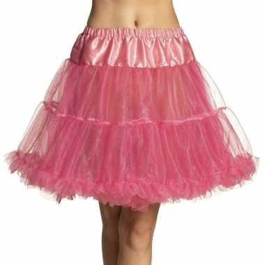 Roze lange petticoat dames carnavalskleding den bosch
