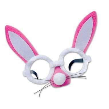 Roze paashaas bril oren snuit carnavalskleding Den Bosch