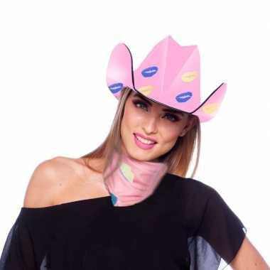 Roze sjaal lippen/kusjes dames carnavalskleding den bosch
