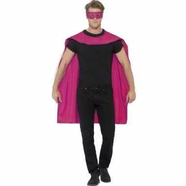 Roze superhelden cape masker carnavalskleding bosch