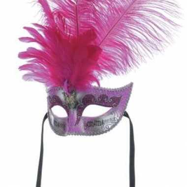 Roze Venetiaans masker veren carnavalskleding Den Bosch