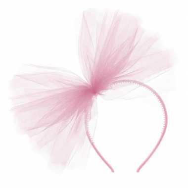 Roze verkleed haarband tule strik dames carnavalskleding den bosch
