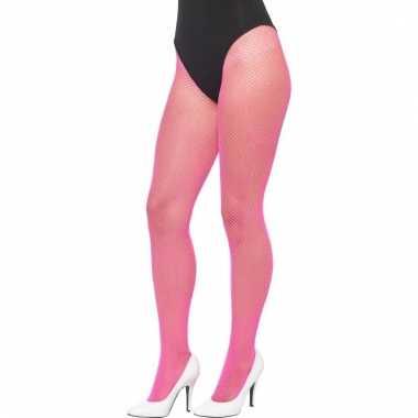 Roze visnet verkleed panty volwassenen carnavalskleding den bosch