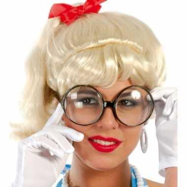 Carnavalskleding secretaresse bril grote ronde glazen