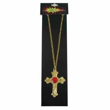 Sinterklaas accessoires gouden ketting kruis carnavalskleding bosch
