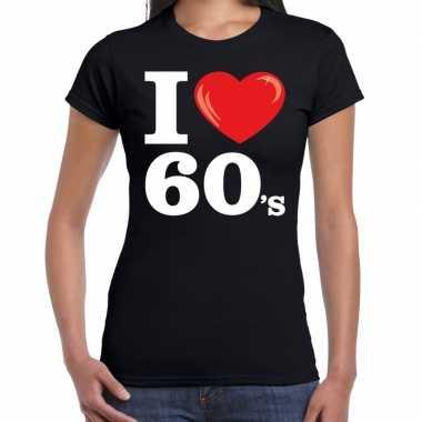 Sixties shirt i love s bedrukking zwart dames carnavalskleding den bo
