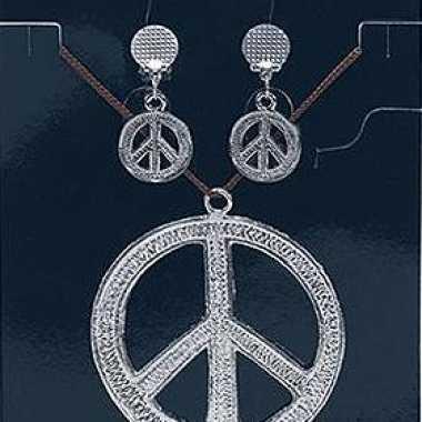 Carnavalskleding sixties sieraden peace teken