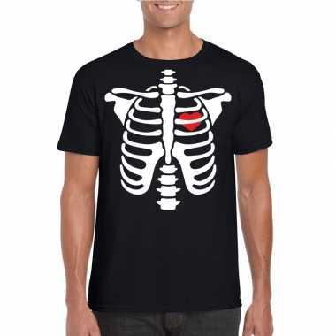 Skelet halloween t shirt zwart heren carnavalskleding den bosch