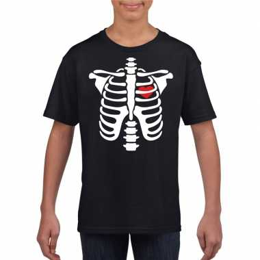 Skelet halloween t shirt zwart jongens meisjes carnavalskleding den b