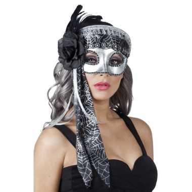 Spinnenweb halloween oogmasker glitter zwart/zilver carnavalskleding
