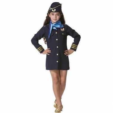 Stewardessen verkleed jurkje pet sjaal meisjes carnavalskleding den b