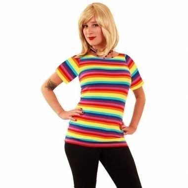 T shirt fel gekleurde strepen dames carnavalskleding den bosch