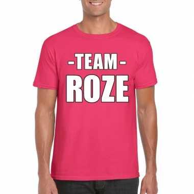 Carnavalskleding team roze shirt heren sportdag
