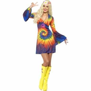 Carnavalskleding tie dye verkleed jurkje dames