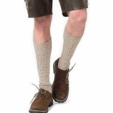 Tiroler / bierfeest/ lederhose sokken creme heren dames carnavalskled