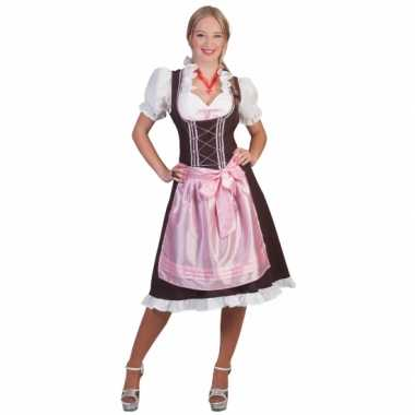 Tiroler jurk bruin roze grote dames carnavalskleding Den Bosch