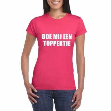 Toppers doe mij een toppertje shirt roze dames carnavalskleding den b